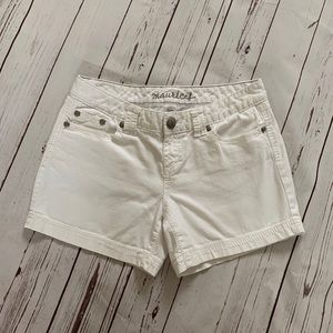 Maurice's White Distressed Denim Shorts